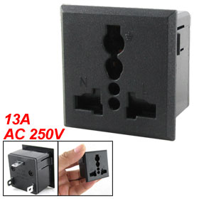 AC 250V 13A Square Universal Panel Socket Plug Outlet Power Receptacle Black