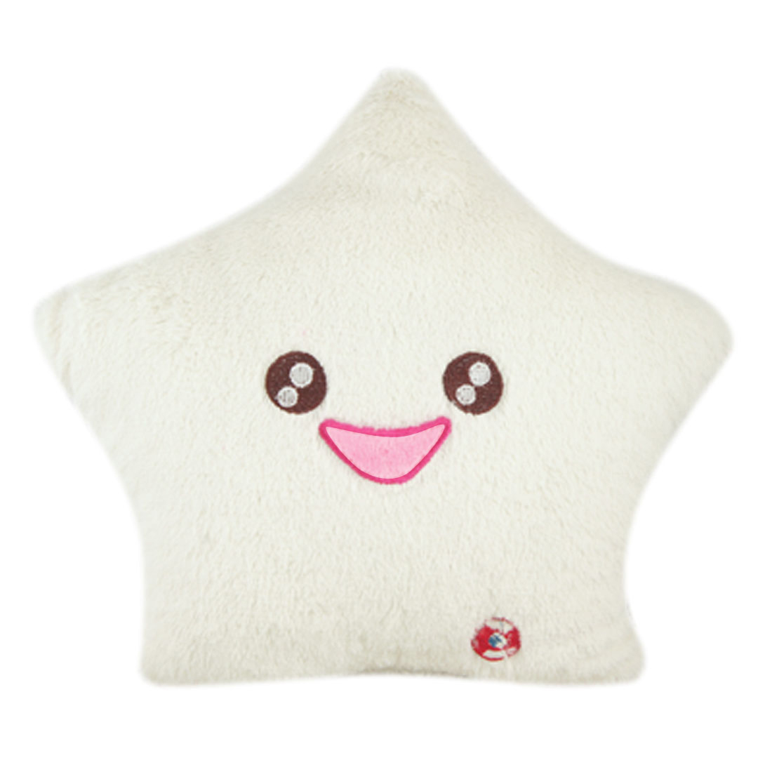 Smile Star Design Color Changing LED Light Toss Thrown Pillow White