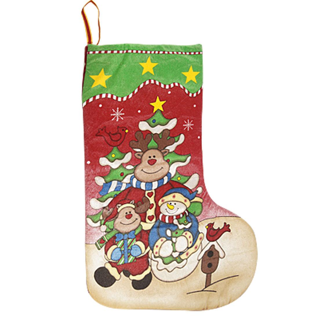 Children Xmas Gift Hold Snowmen Cartoon Bear Print Christmas Stockings