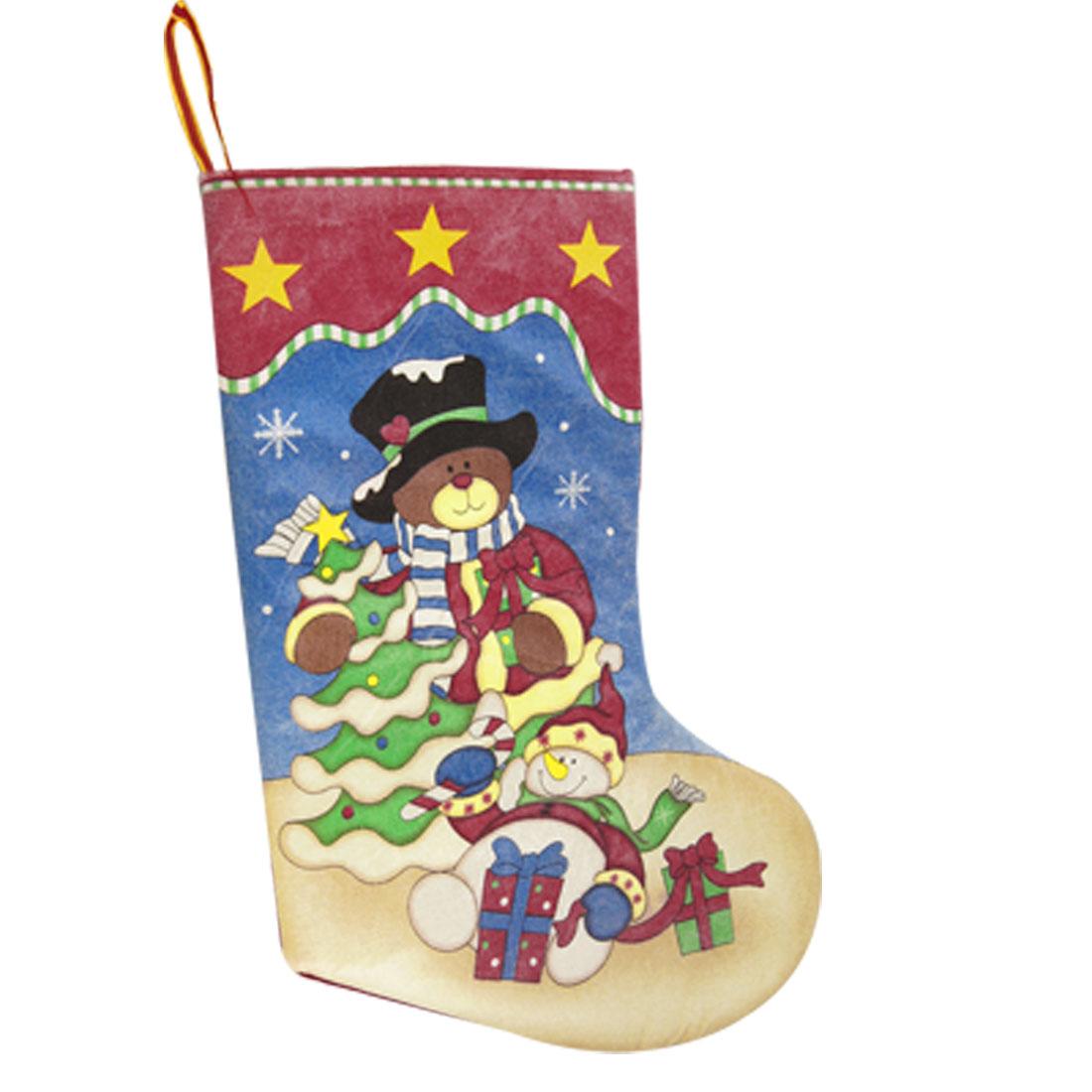 Cartoon Bear Snowmen Star Snowflake Printed Gift Holder Christmas Stockings