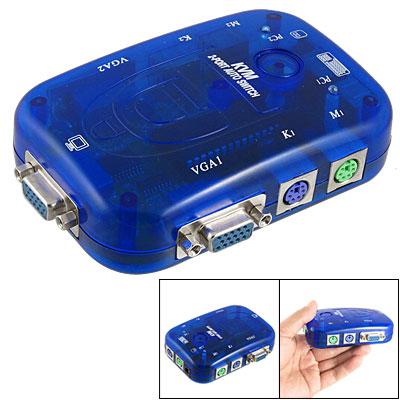 Blue Oval Press Button 2 VGA In Port Auto KVM Switch
