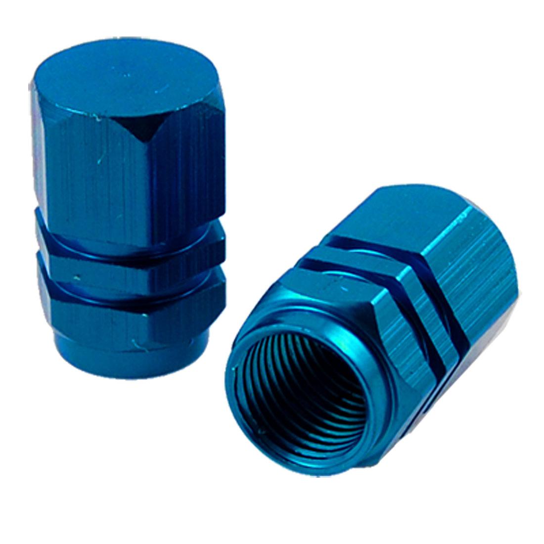 Blue Metal Auto Car Tyre Tire Valve Protectors Covers 4 Pcs