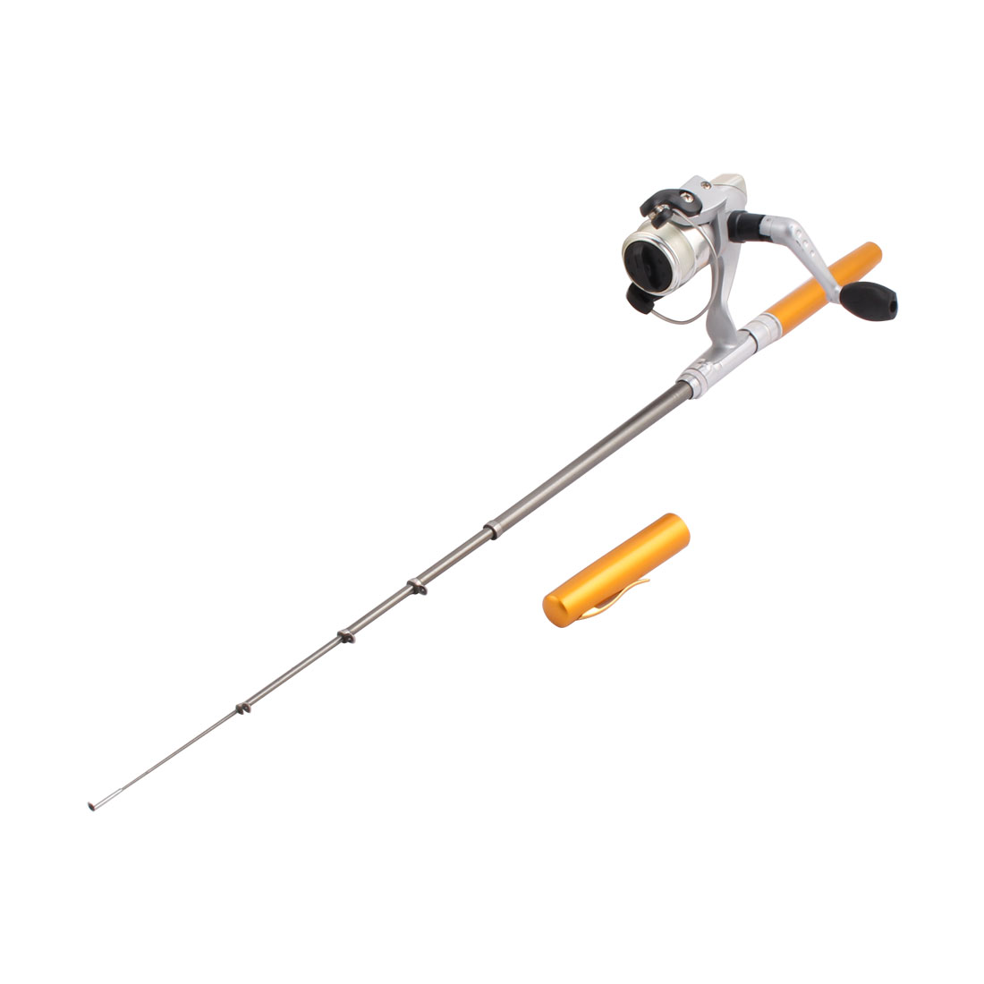 Gold Tone Line Guides Telescopic Pen Fishing Rod + Spinning Line Reel