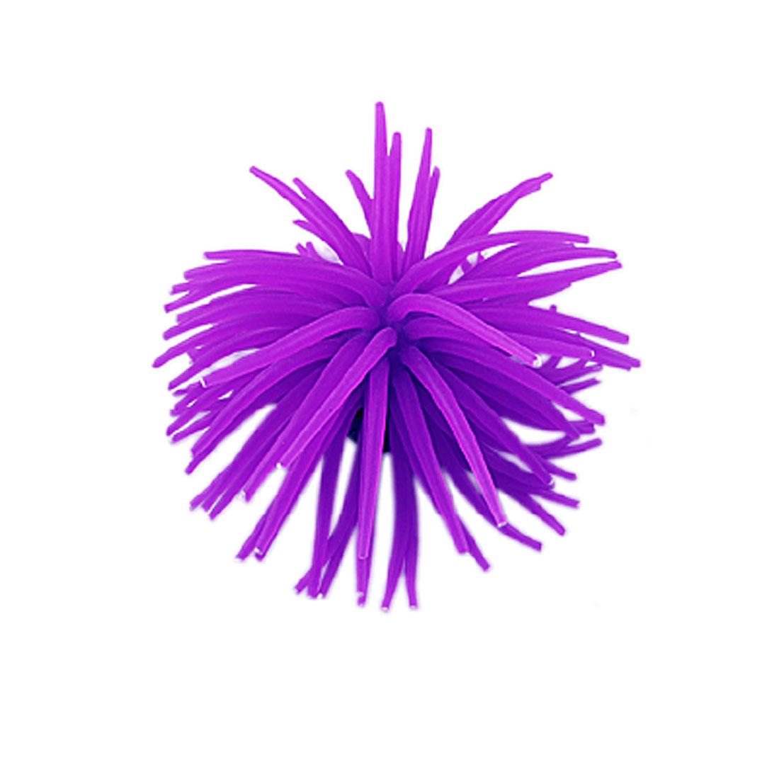 Aquarium Fish Tank Decoratvie Emulational Silicone Sea Urchin Purple