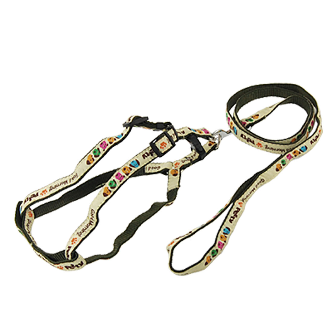 Letters Pattern Pet Dog Puppy Lead Harness Pulling Leash Rope Army Green