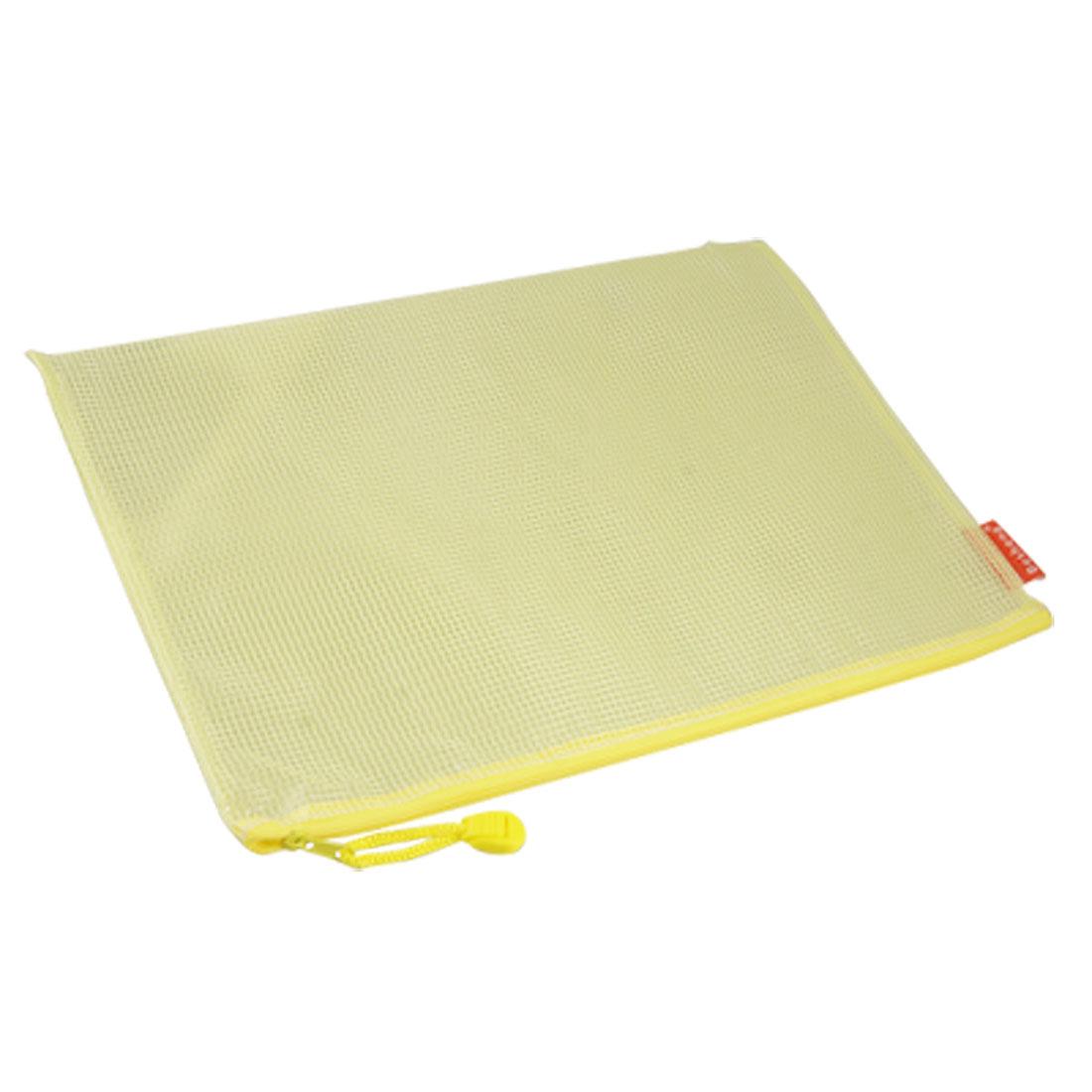 Yellow Soft Plastic A4 Size Paper File Holder Zipper Bag Efaxu