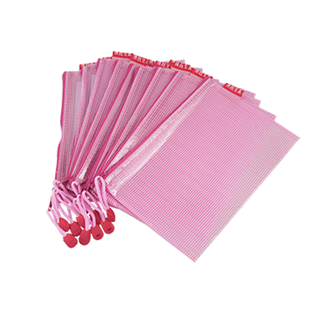 10 Pcs Netting Detail Pink A5 Document File Holder Zipper Bags w Strap