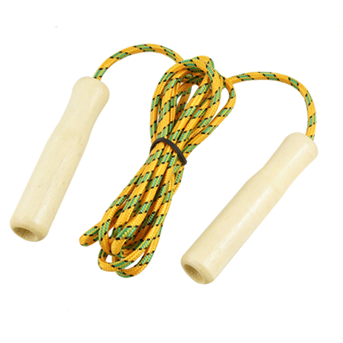 Wooden Handle Keep Health Yellow Green Jumping Skipping Rope 84.6""
