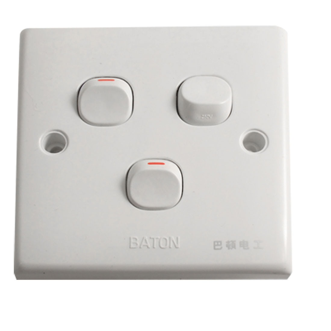 Home White Plastic 3 Gang 3 Way Wall Switch Plate New AC 250V 10A