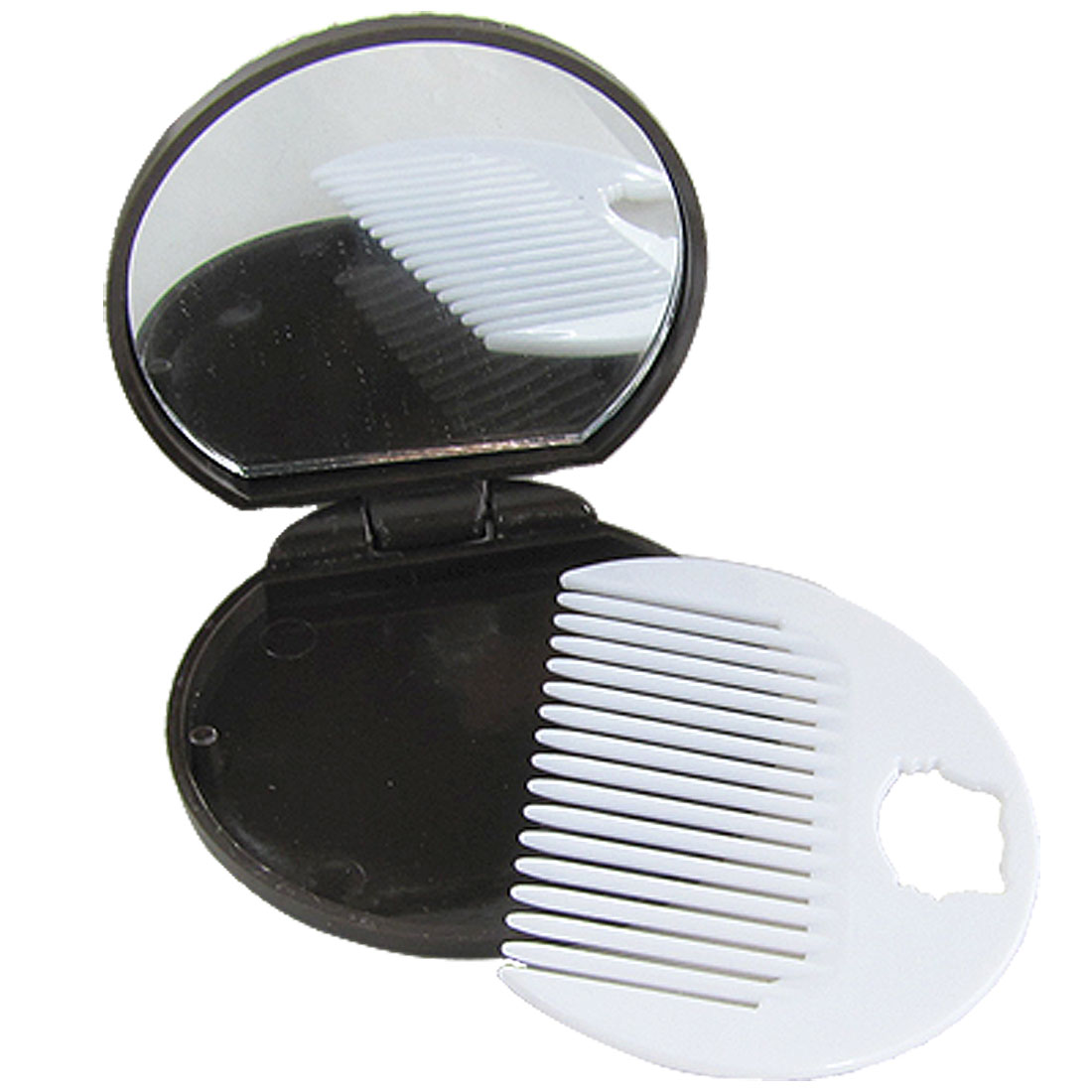 Cosmetic Plastic Chocolate Cookie Shape Compact Mirror w Comb for Lady