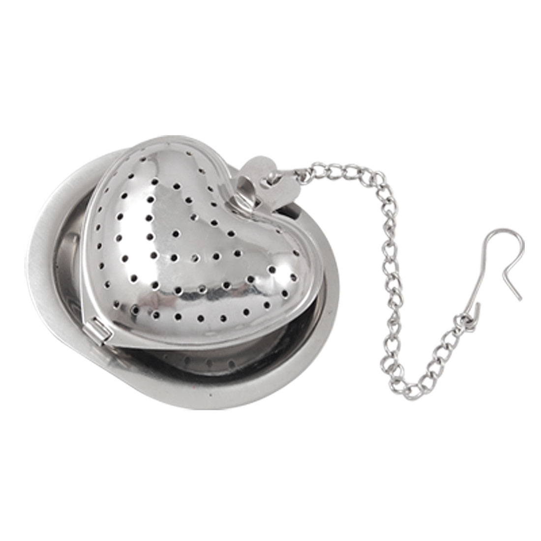 Stainless Steel Heart Shaped Tea Infuser Strainer Mesh Ball w Mini Tray