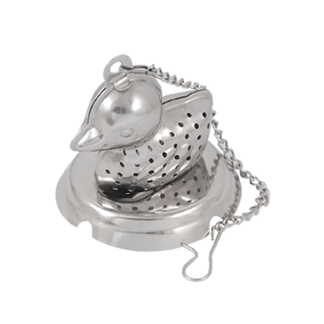 Silver Tone Duck Shaped Tea Infuser Strainer Mesh Ball w Mini Tray