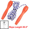 "Plastic Handle Blue White 86.6"" Length Fitness Exercise Jumping Skipping Rope"