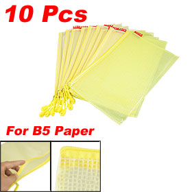 Yellow Soft Plastic Zipper Closure B5 Document File Holder Bags 10 Pcs