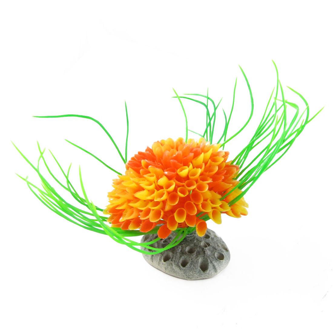 Plastic Green Leaf Accent Orange Flower Plants Ornament for Aquarium