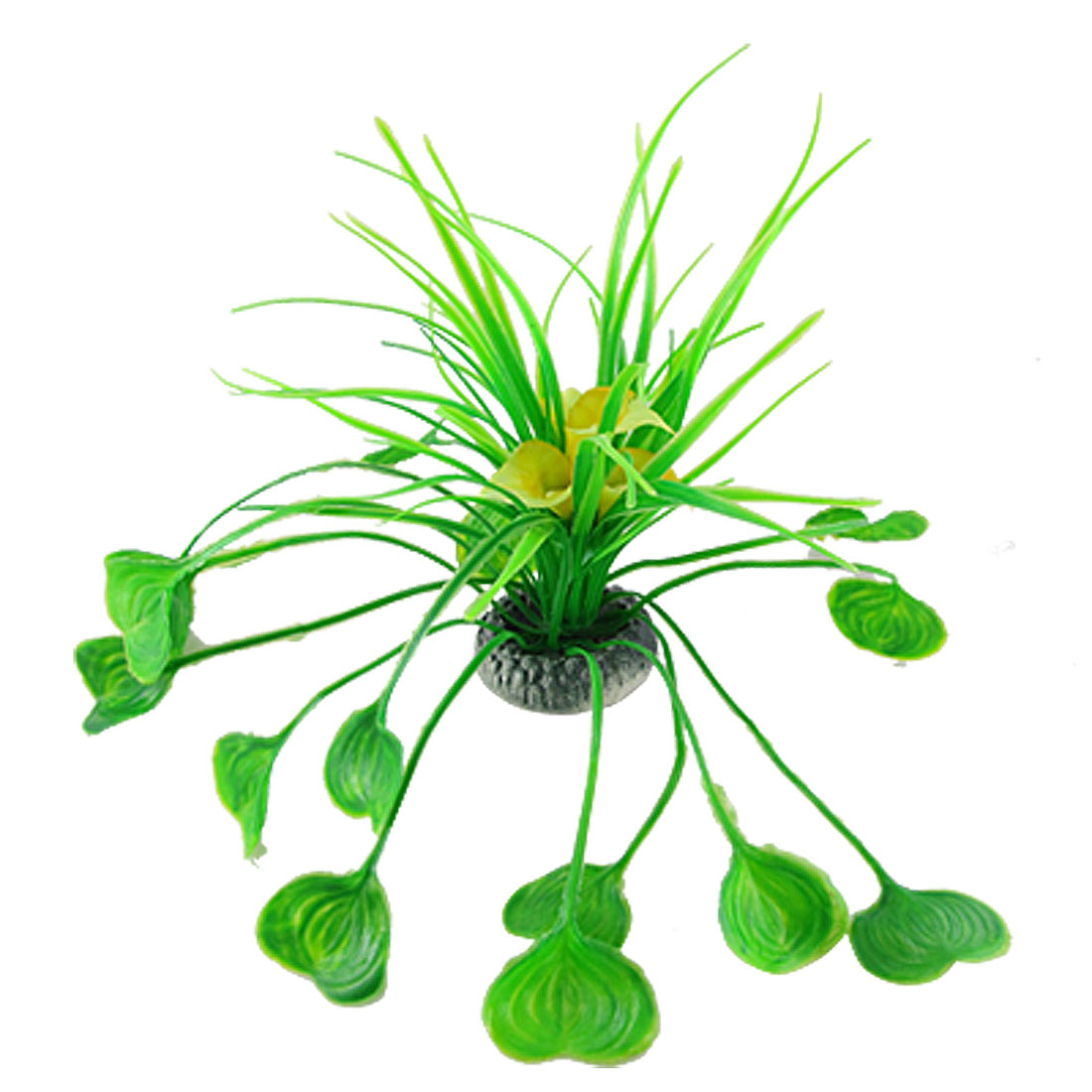 Fish Tank Artificial Green Leaves Yellow Flower Plants Ornament