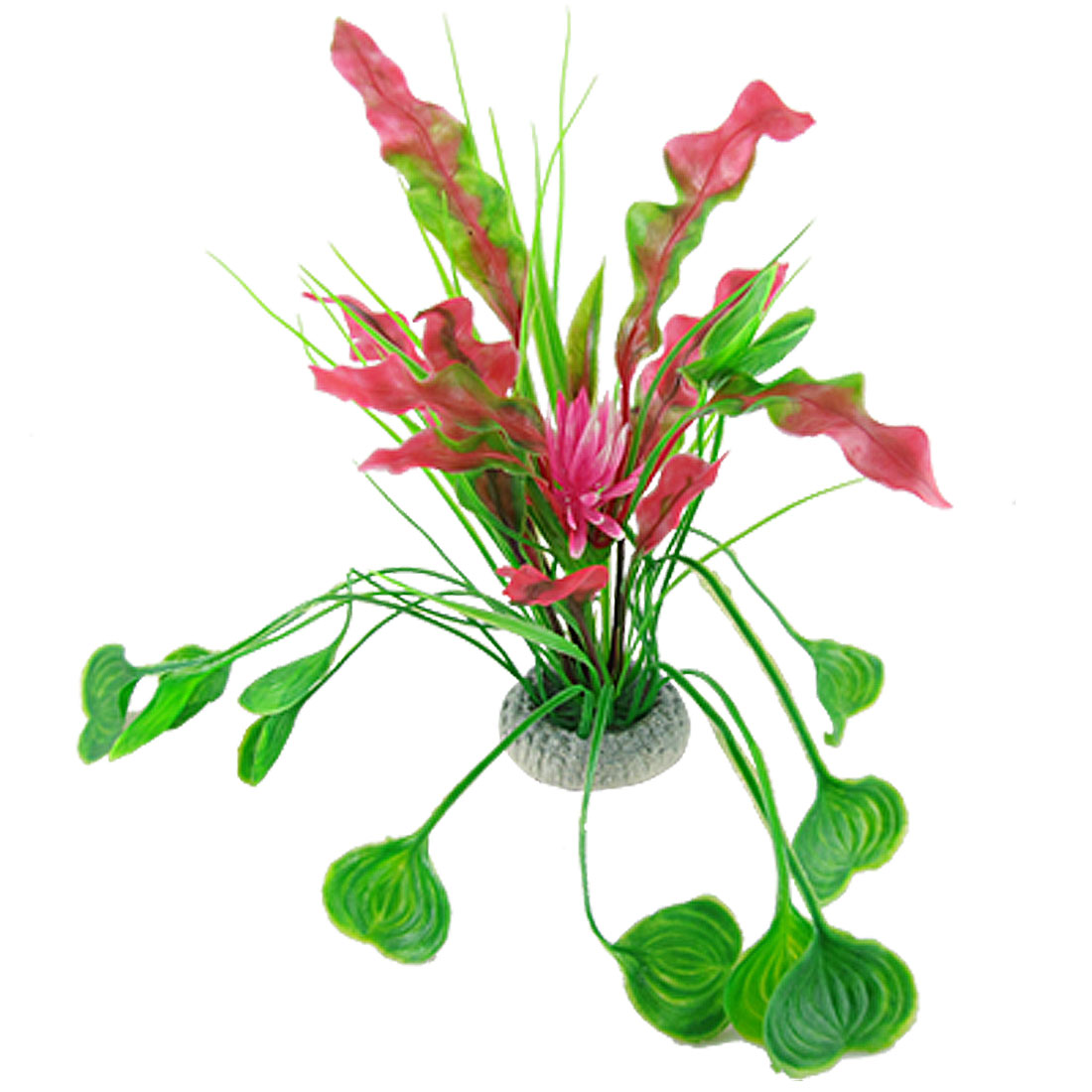 Fish Tank Plastic Pink Floral Accent Amaranth Green Leaf Plants Ornament