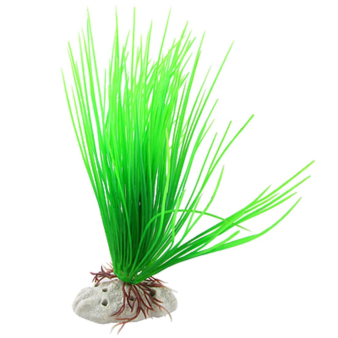 Fish Tank Plastic Green Acicular Leaf Aquatic Plants Decor w Ceramic Base