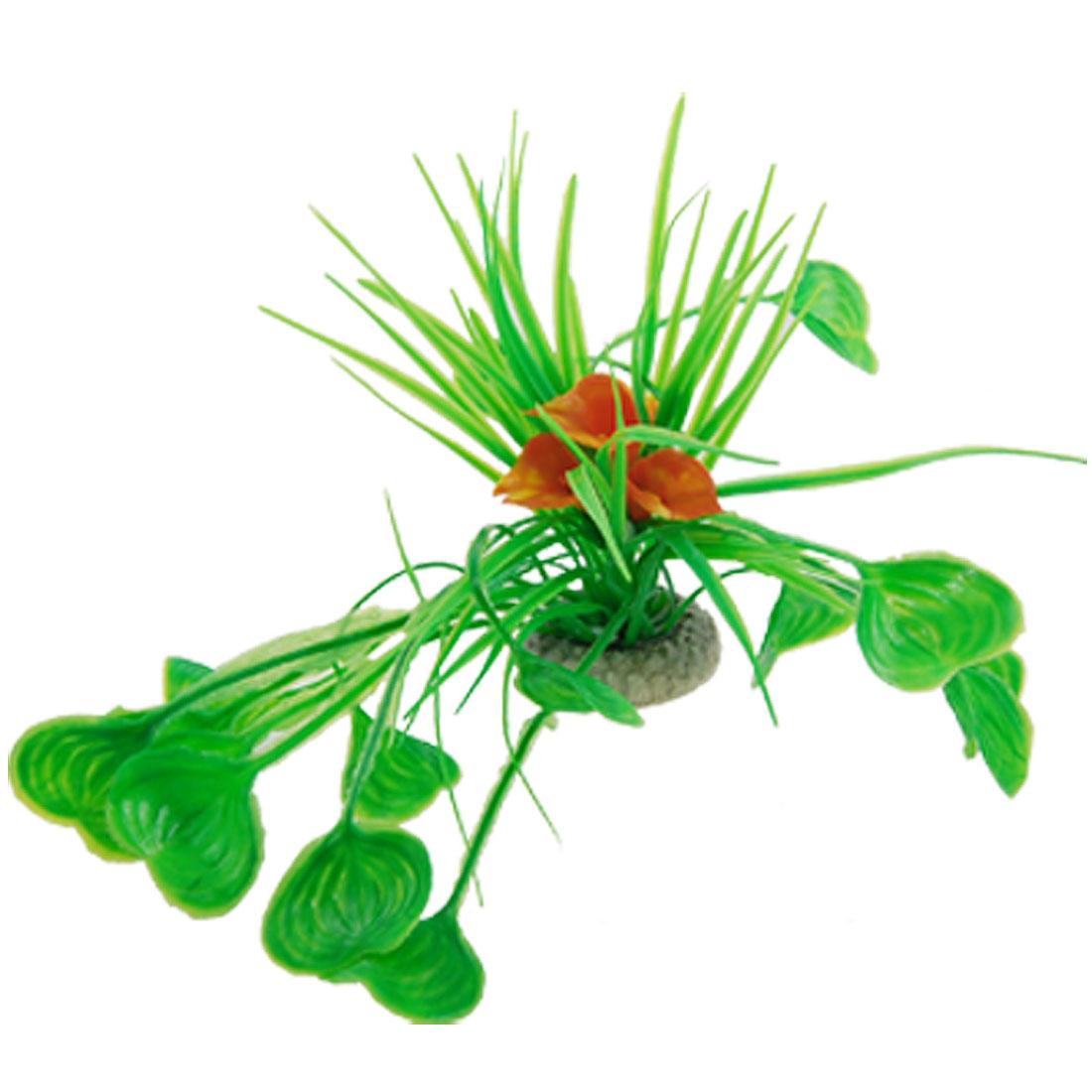 Tank Emulational Orange Flower Green Heart Shaped Leaves Plants Decor
