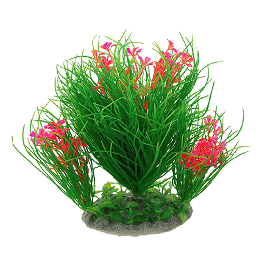 Aquarium Plastic Hot Pink Flower Green Needlelike Plants Ornament