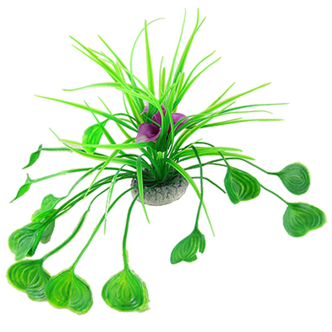 Aquarium Plastic Green Heart Shaped Leaf Purple Flower Accent Plants Decor