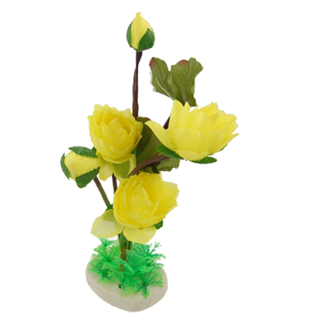 Green Leaves Yellow Lotus Plastic Plant Decoration for Fish Tank
