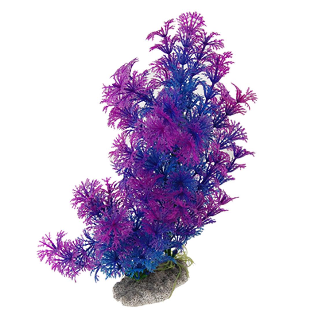 Aquarium Ornament Ceramic Base Plastic Plant Blue Purple