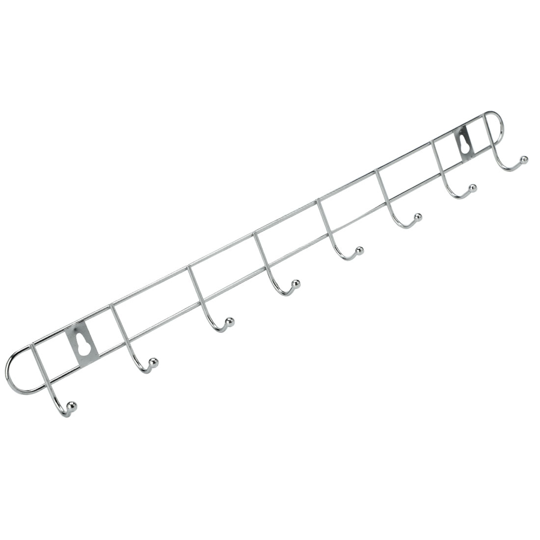 Wall Mounted Silver Tone 8 Hooks Towel Metal Hanger Rack