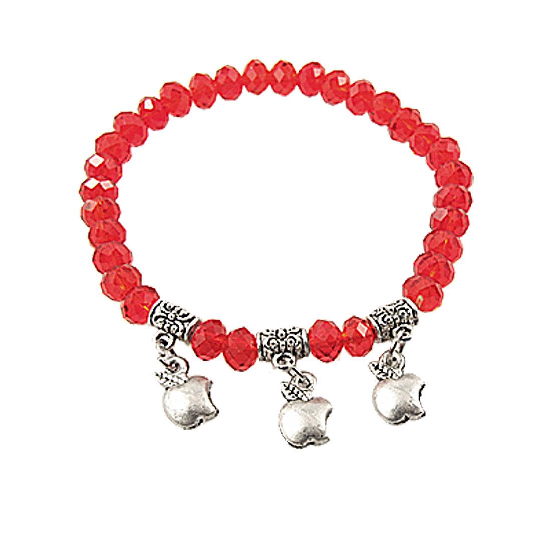 Plastic Red Faceted Bead Elastic Bracelet for Women