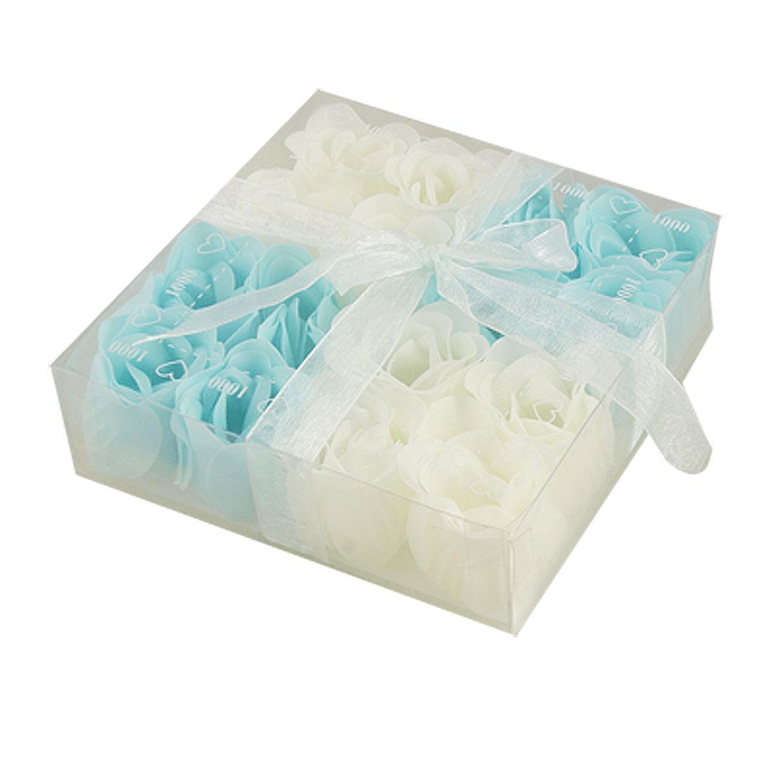 Baby Blue White 16 Pcs Scented Bath Soap Rose Petal Gift