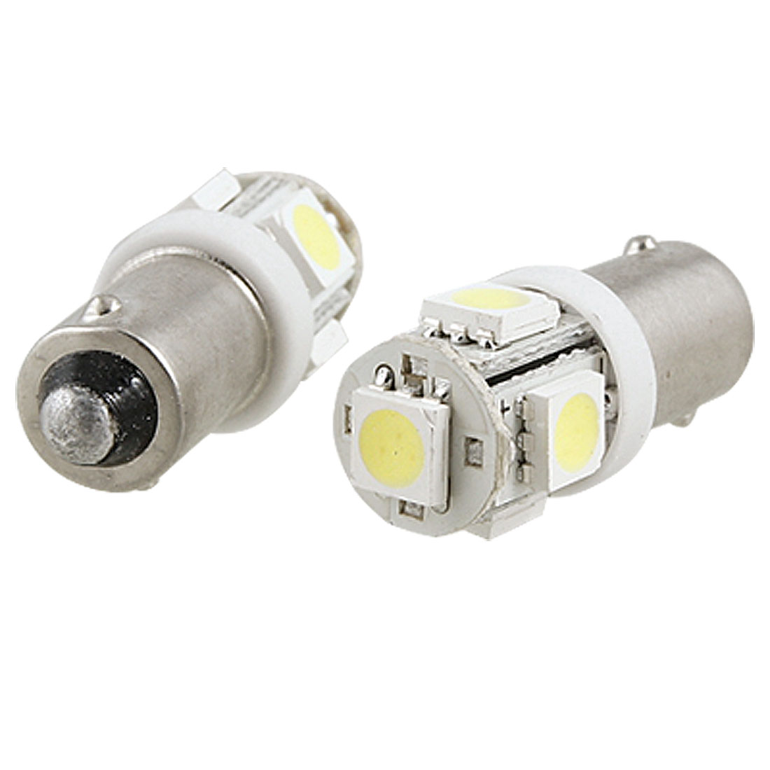 2 Pcs Car Auto BA9S White 5050 SMD 5 LEDs Turn Light Bulbs Lamps