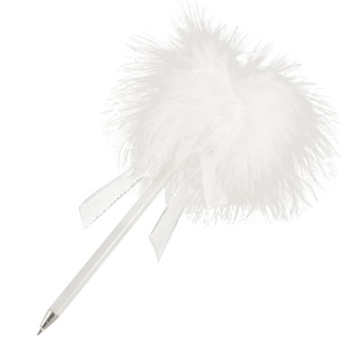 Plastic Casing Bowknot Feather Black Ink Ballpoint Ball Point Pen