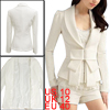 White Shawl Neck Bowtie Accent Long Sleeves Blazer Jacket M for Women