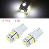 2 Pcs Car Auto T10 White 5050 SMD 5 LED Sidelight Wedge Bulbs 12V