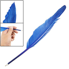 Blue Feather Quill Black Ink Retro Ballpoint Ball Point Pen