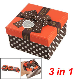 Dark Brown Red Dotted Box in Box Necklace Jewellery Gift Holder Case