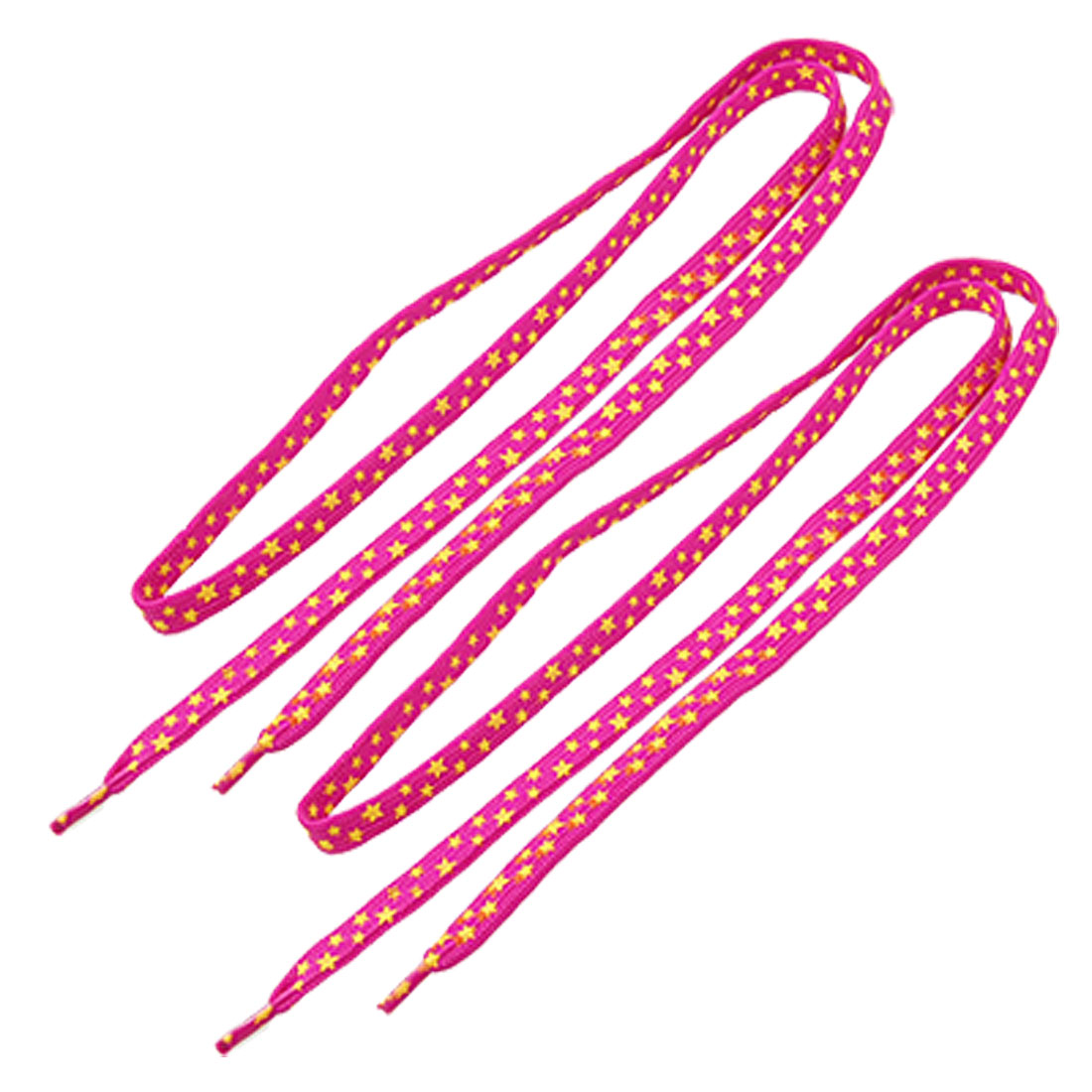 Yellow Star Print Fuchsia Flat 110cm Long Sneakers Shoelace String