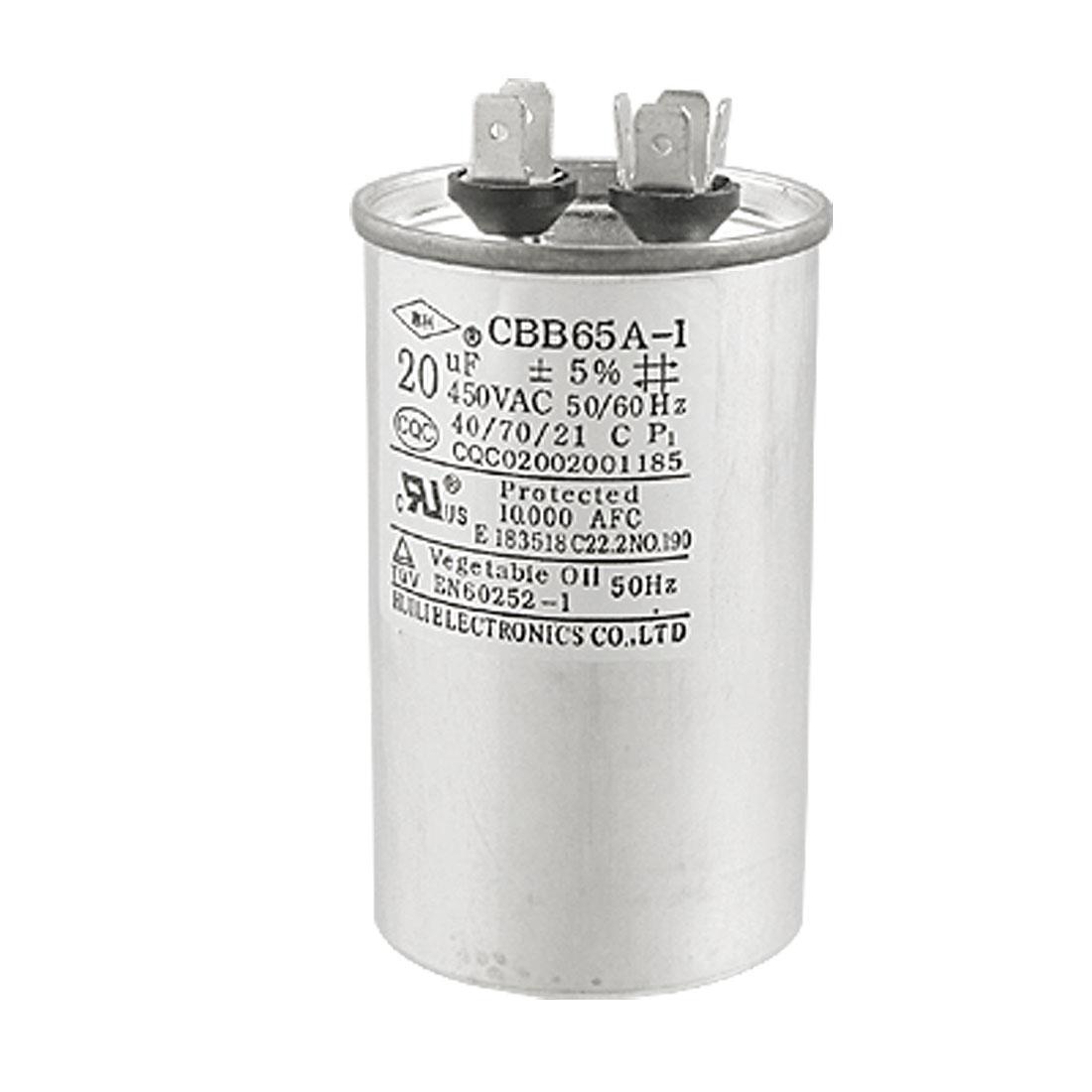 CBB65A-1 AC 450V 20uF Metallized Polypropylene Film Motor Capacitor