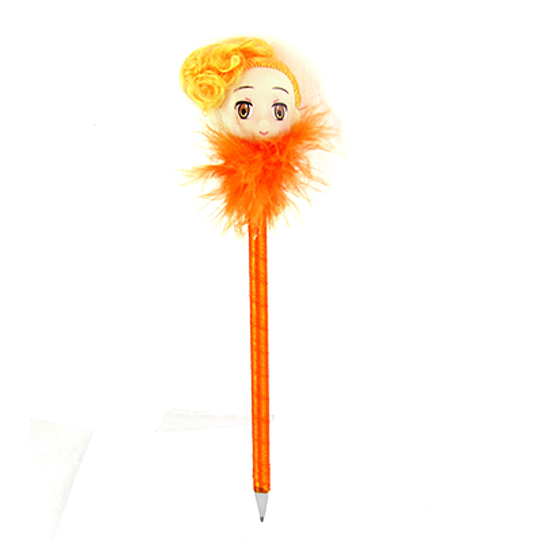 Pretty Girl Faux Fur Accent Stationery Ball Point Pen Orange
