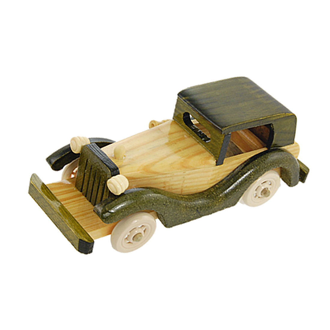 Children Army Green Wood Color Wooden Vintage Style Car Toy Gift