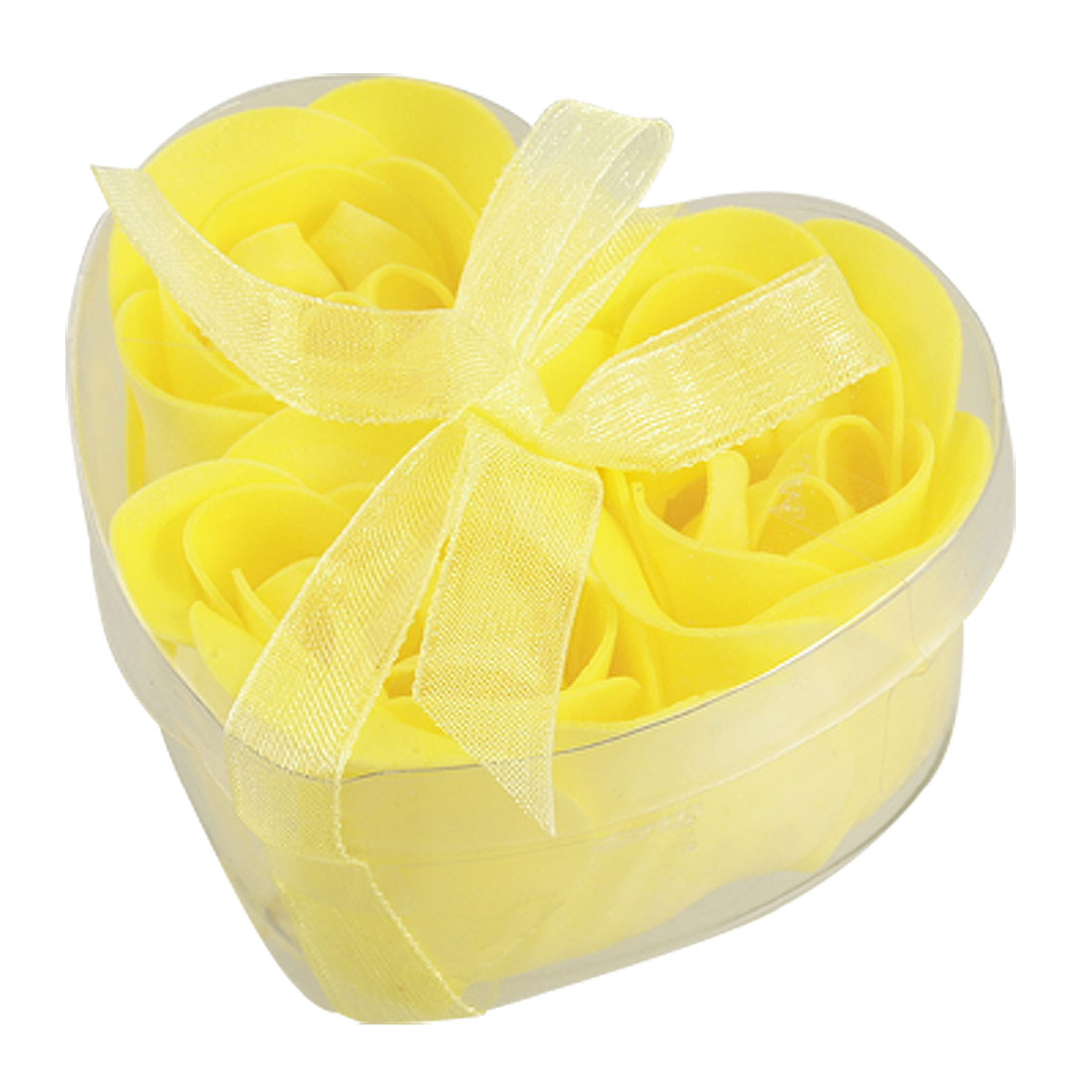3 Pcs Yellow Scented Rose Flower Petal in Heart Gift Case