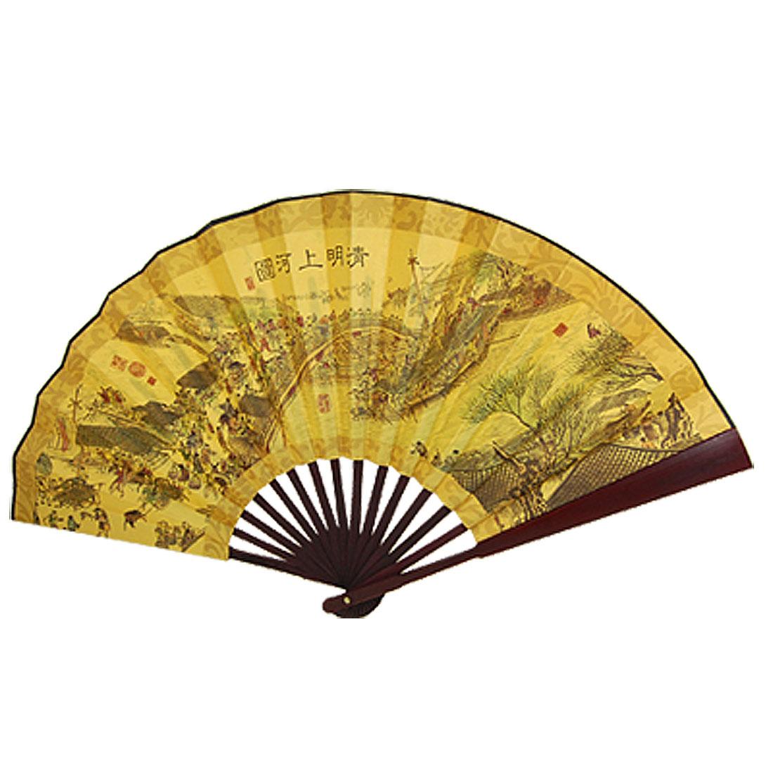 Qing Ming Shang He Tu Print Yellow Paper Large Chinese Handheld Bamboo Fan