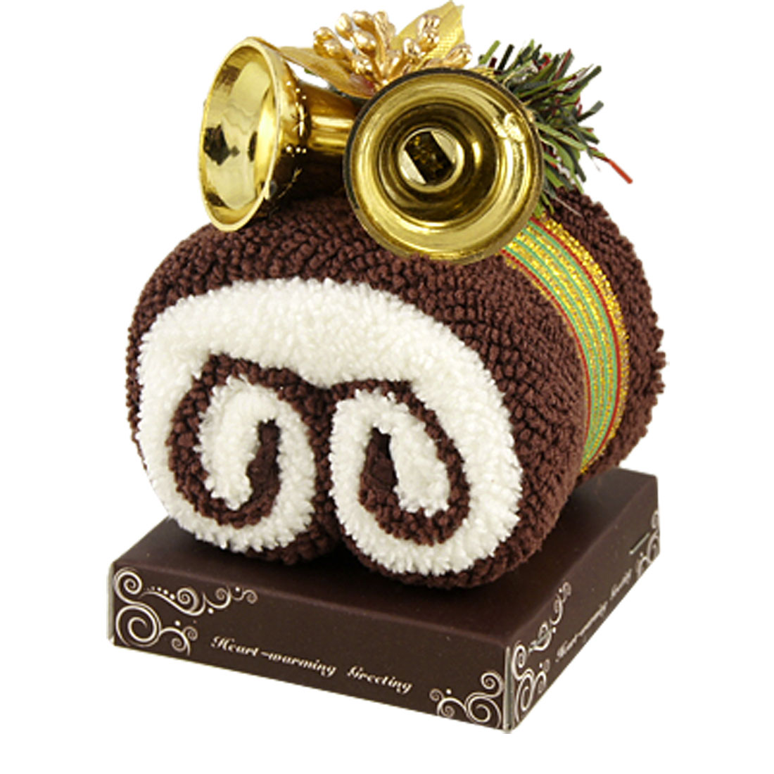 Xmas Favor Gift Bells Detail Coffee Color White Roll Cake Towel