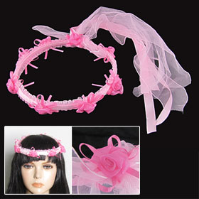 Girl Ribbon Veil Band Fuchsia Flower Princess Wedding Headband