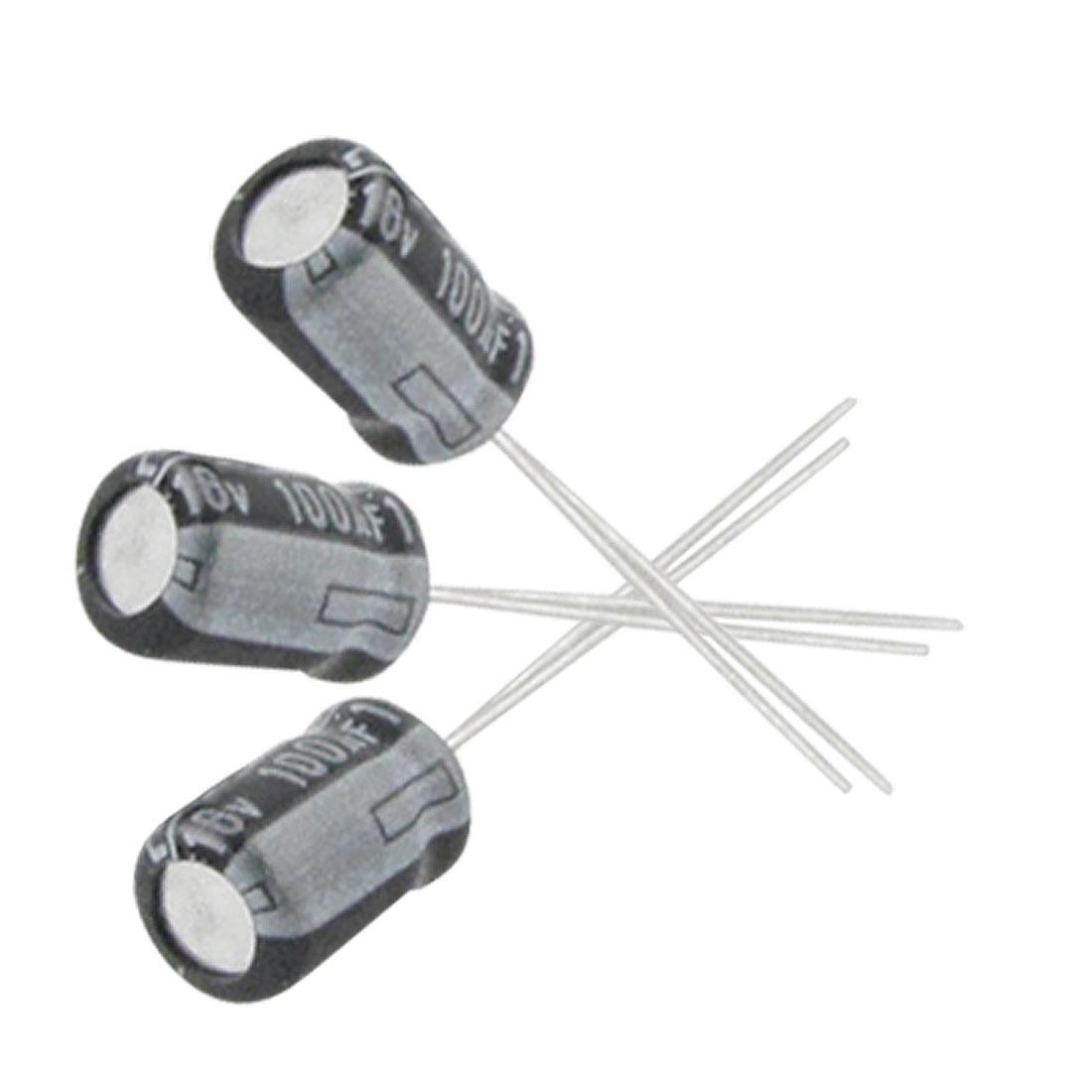 10 x 100uF 16V 105C Radial Electrolytic Capacitor 5x7mm