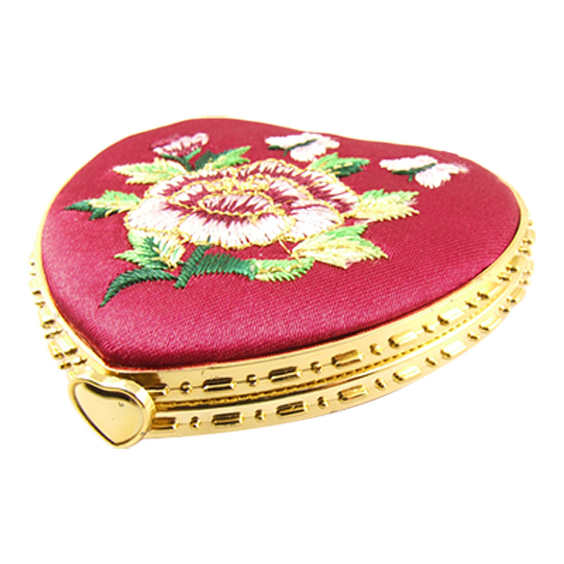 Gold Tone Hem Embroidered Floral Decor Red Heart Shaped Compact Mirror