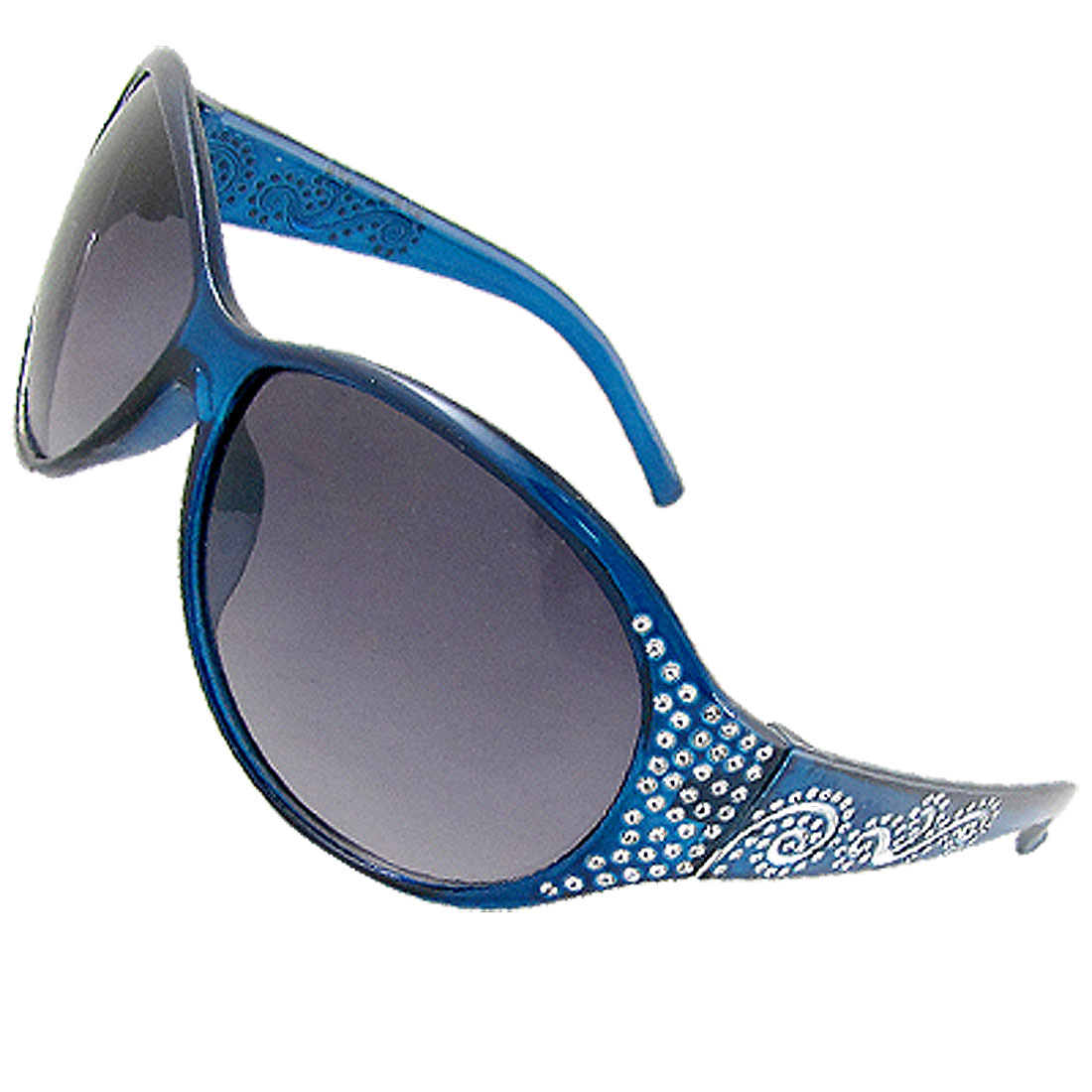 Silver Tone Carved Floral Pattern Oval Lens Plastic Blue Sunglasses for Women