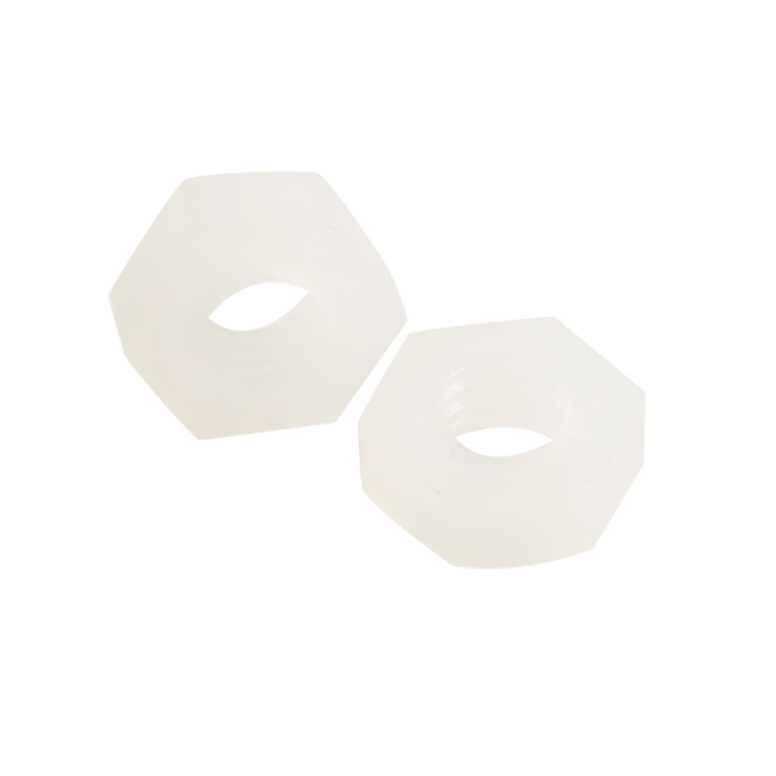 PN-4N 50 Pcs 3mm Height Plastic Hexagonal Hex Screw Nut White