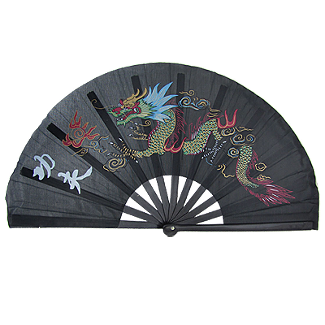 Dragon Hanzi Kongfu Print Plastic Ribs Folding Hand Fan Black
