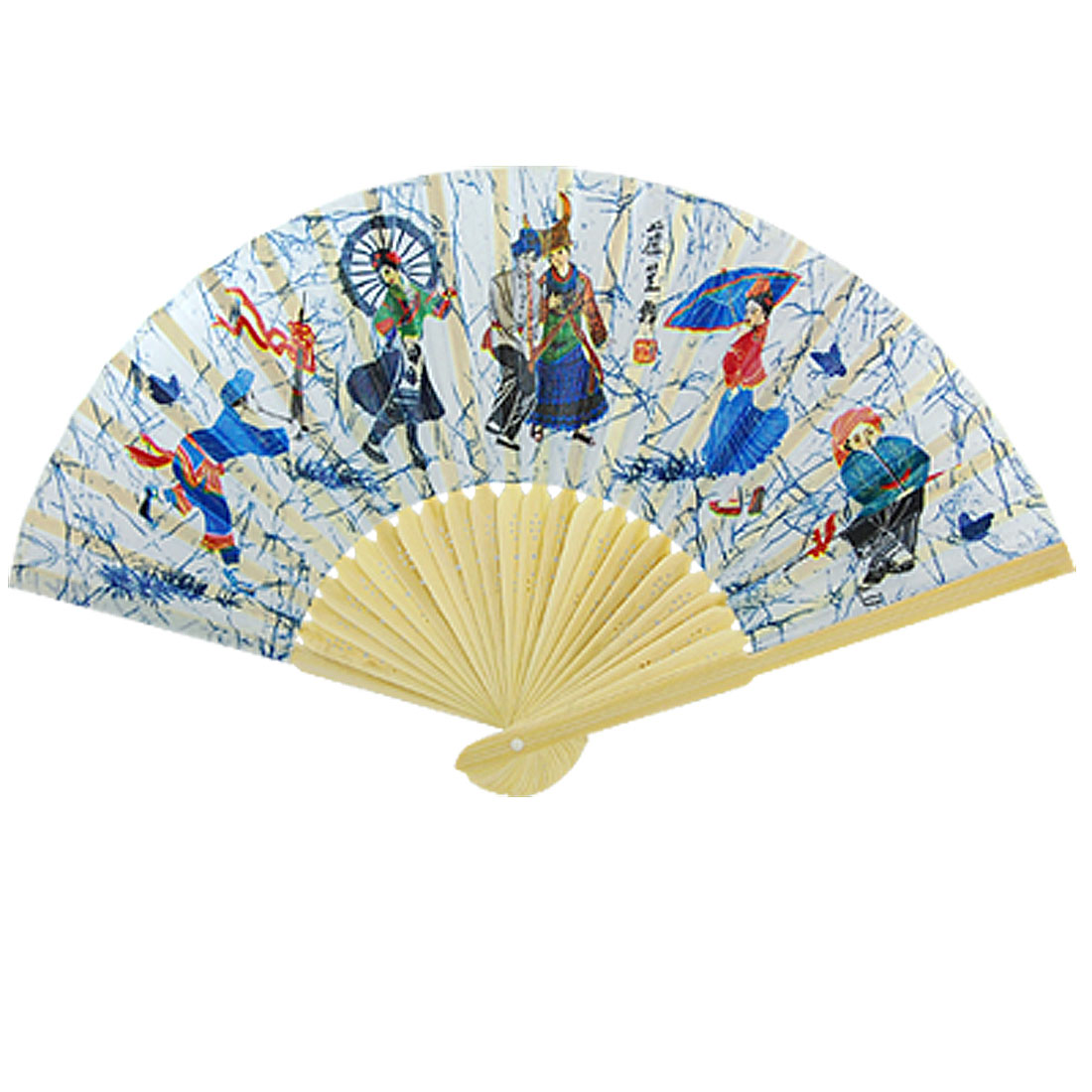 Foldable Colorful Chinese Minority Dancing Print Fabric Hand Fan